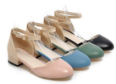 時尚休閒圓頭包頭縷空一字式扣帶低根女涼鞋黑/綠/粉/藍34-43【no-44951536508】