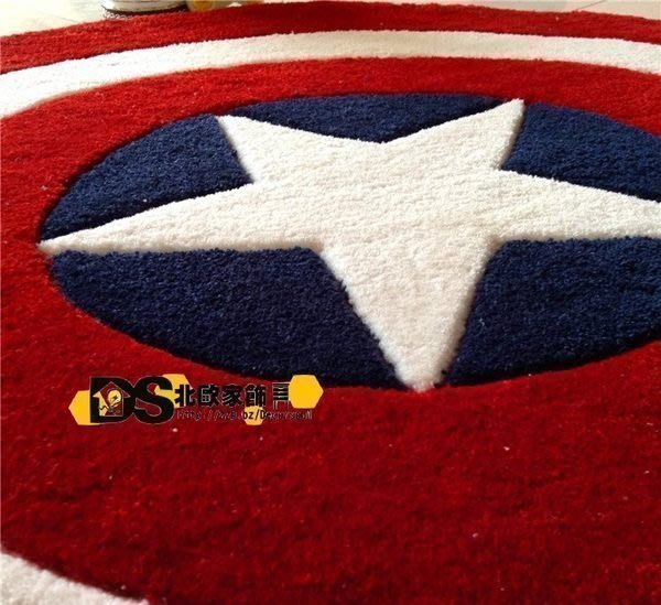 DS北歐家飾§ loft 美國隊長盾牌圓形地毯 復仇者聯盟客廳腳墊 70cm 美式鄉村潮流設計 大號訂製尺寸