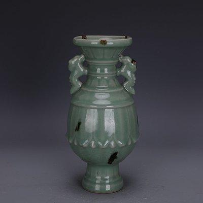 ㊣三顧茅廬㊣  宋代龍泉窯青瓷點彩刻花雙耳尊  出土古瓷器  古玩古董收藏擺件