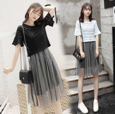 ✨日韓美著✨夏季新款網紗吊帶裙+短袖上衣 gauze skirt, t-shirt