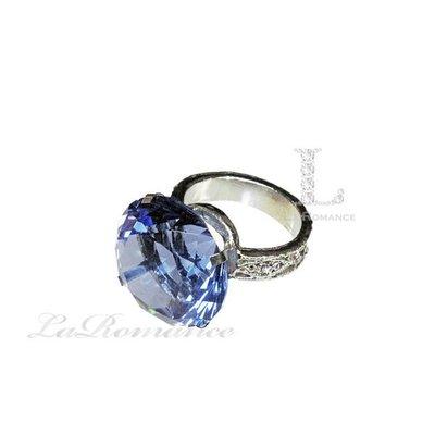 【芮洛蔓 La Romance】 3 cm 水晶鑽戒指造型餐巾環 - 水藍色 / 情人節 / 求婚