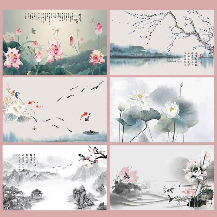 新中式現代小清新魚塘荷花冬梅裝飾畫客廳餐廳辦公室