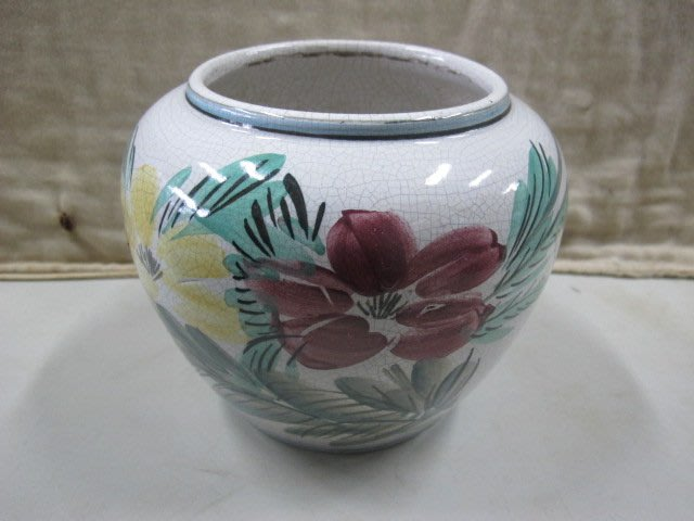 二手舖 NO.4267 陶瓷花瓶 酒甕 花卉圖樣 古早收藏