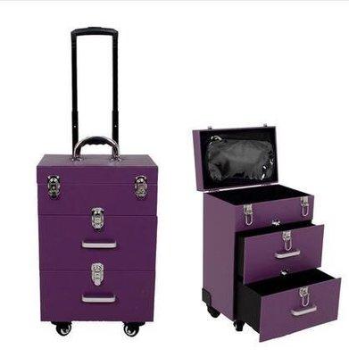 【優上】豪華萬向輪拉桿化妝箱拉桿箱專業大號多層收納箱紋繡工具箱紫色雙抽屜
