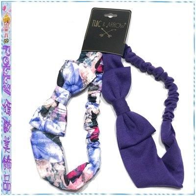 ☆POLLY媽☆歐美TWIG&ARROW彩染紗交織/紫色針織棉蝴蝶結髮帶二條一組