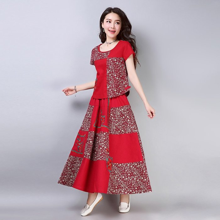 文藝 復古 棉麻連身裙 印花 甜美 實拍 民族風棉麻繡花 大碼女裝 裙子套裝