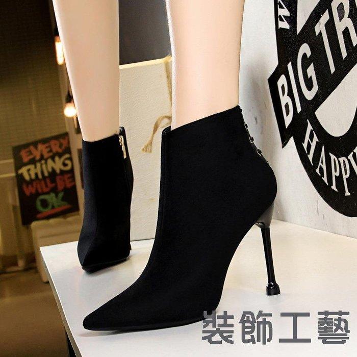 663-1復古時尚宴會女簡約細跟高跟性感夜店顯瘦尖頭絨面短靴