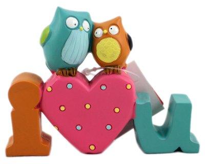 【卡漫迷】 貓頭鷹 I LOVE U 擺飾 陶瓷 公仔 療癒 情人 禮物 我愛你 幸福 新房 裝飾 佈置 婚宴 一體成形