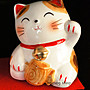[洛克索克專賣本舖] 招財貓 招福貓 貓擺飾 裝飾品 陶瓷貓 ~ 日本製 日本空運 1組2隻 現貨