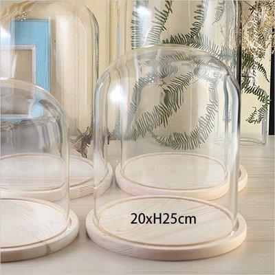 Sweet Garden, 20*高25cm 大型玻璃罩+原木色底座 永生花不凋花設計 擺飾防塵罩 展示罩 台中