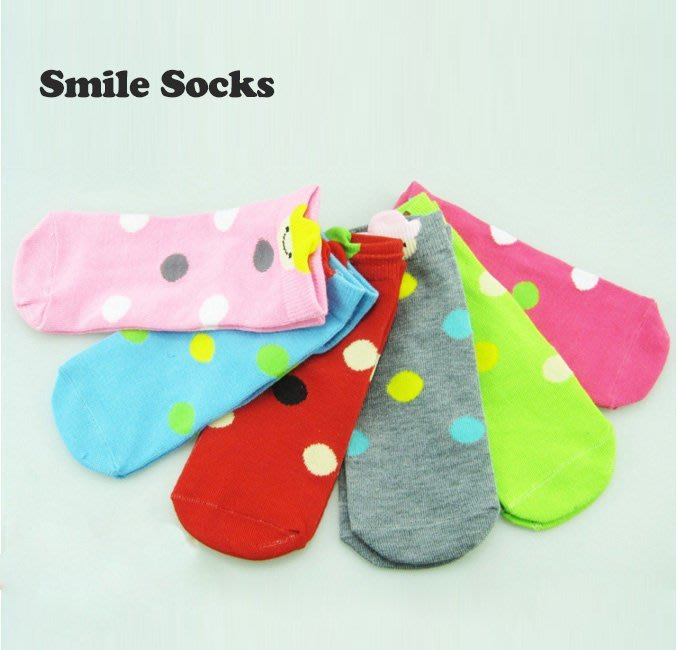 襪子【FSC006】牛仔笑臉圓點童襪 隱形襪 短襪 螢光色 氣墊襪 純棉 毛巾襪 收納女王