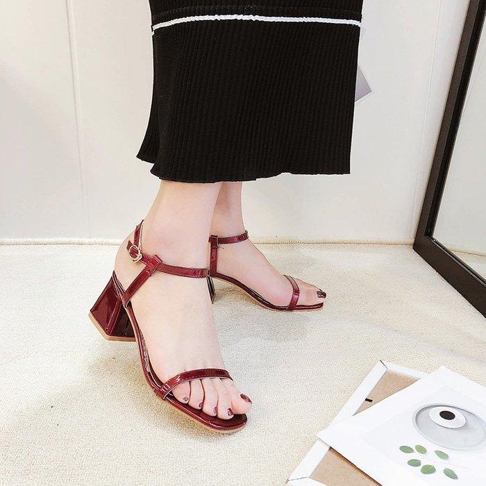 爆款--網紅涼鞋新款女夏季chic一字扣帶粗跟高跟韓版百搭仙女晚晚鞋#鞋子#涼鞋#百搭#時尚