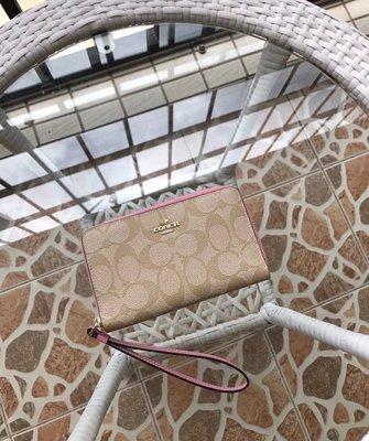 【Woodbury Outlet Coach】 旗艦館COACH 57468 新款雙層女士手腕包 零錢包 卡包 美國代購