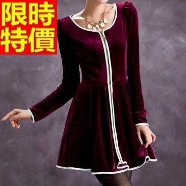 禮服 連身裙-圓領收腰金絲絨氣質洋裝3色65aa5[獨家進口][米蘭精品]