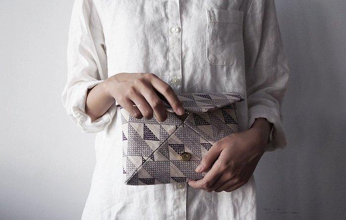 (出清商品) MH選物室 日本雜貨 日本製 幾何 麻製 磁扣式 手拿 置物 化妝 包