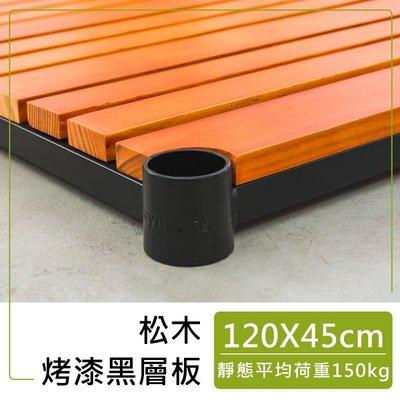 配件【120x45cm 烤黑松木層板含夾片】單層耐重150kg【架式館】層架/收納架/組合架/微波爐架/鐵架