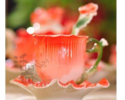 5Cgo【鴿樓】會員有優惠 12501107886 歐式 咖啡杯 套裝 情侶杯子 結婚送禮 婚慶 罂粟花新婚房擺件家居