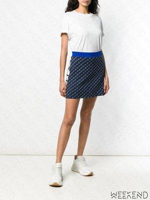 【WEEKEND】 STELLA MCCARTNEY 文字 側邊拉鍊 鬆緊褲頭 短裙 藍色 18秋冬