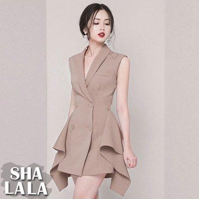 SHA LA LA 莎菈菈 韓版時尚雙排釦不規則氣質修身無袖西裝連衣裙洋裝2色(S~XL)2019050718預購款