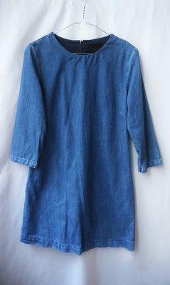 【Zara】近新  簡約水洗刷色牛仔中磅丹寧洋裝(原色藍M)
