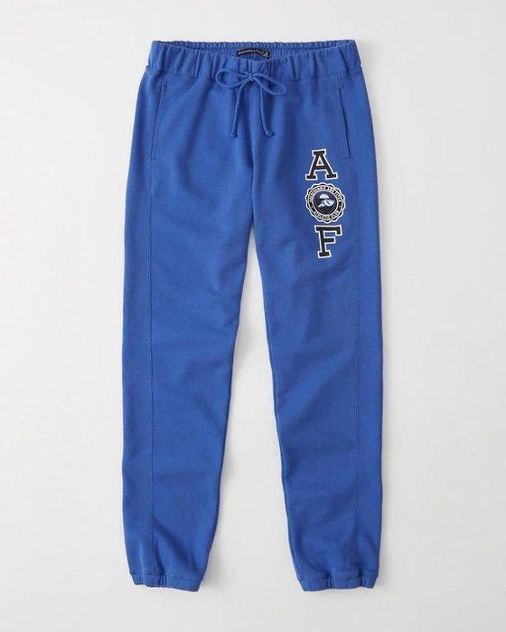 Maple麋鹿小舖 Abercrombie&Fitch * AF 寶藍色電繡徽章字母長棉褲 *( 現貨XS/S號 )