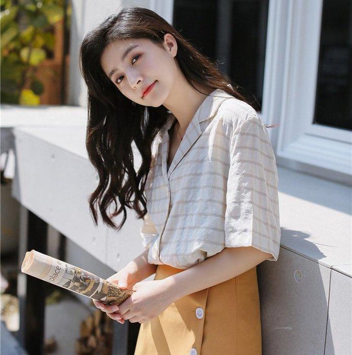SEYES 日韓雜誌款二色基本款格紋翻領短袖襯衫