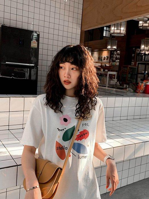 夏季女裝短袖T恤 JHXC 印花純棉短袖T恤女寬松春裝新款學生韓版圓領打底衫上衣