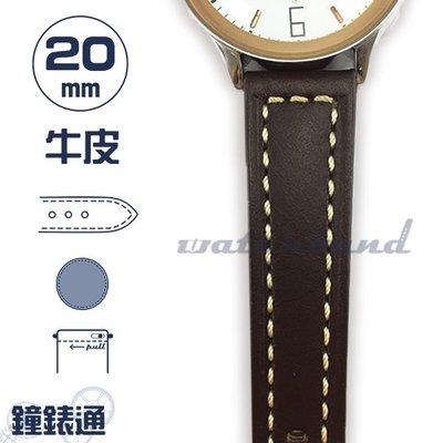 【鐘錶通】C1-03IH《簡約系列》素面車線-20mm 經典棕 (手拉錶耳) /手錶錶帶/素面車線/牛皮錶帶/