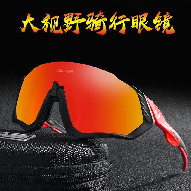【購物百分百】VELLSIR騎行眼鏡 偏光山地自行車眼鏡 變色防風沙眼鏡 運動跑步男女