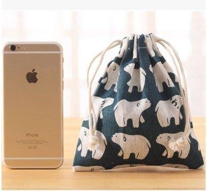 ☜男神閣☞印花棉麻旅行收納袋束口袋 抽繩放內衣服玩具行李箱整理袋小布袋