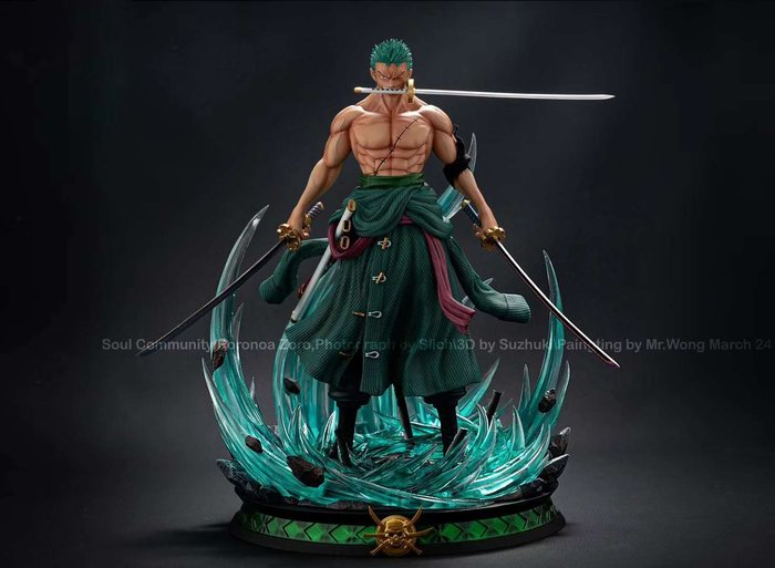 【預購】GK定制,海賊王索隆模型,三刀流,魂社索隆四頭雕手辦雕像