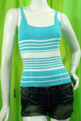 KIKI.立揚服飾╭窄寬不平均~交織橫條紋╯彈性針織U領肩帶背心~F款/水藍