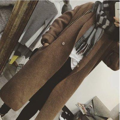 CHERRY LALA 韓國單高品質經典大翻領羊絨長版大衣-  YN2217 korea (深寶藍、咖現貨)