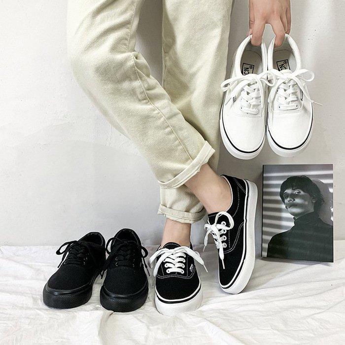 純色情侶鞋硫化鞋同款女滑板鞋鞋百搭小黑鞋帆布鞋低幫男鞋