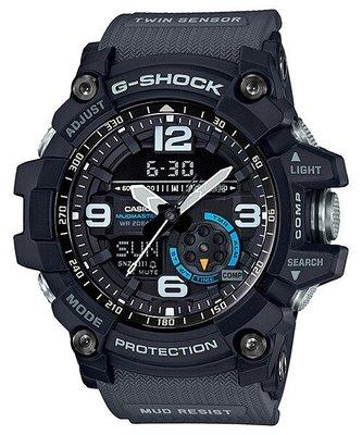 【金台鐘錶】CASIO卡西歐G-SHOCK 雙傳感器 全方位防塵泥 休閒運動錶 (灰帶藍圈) GG-1000-1A8