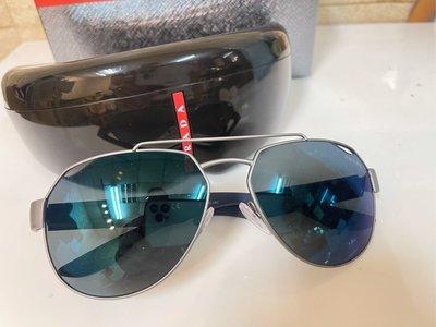 正品 PRADA-LINEA-ROSSA-PS57US-DG1387-Gunmetal-橡膠-Dk-灰色-藍色太陽眼鏡