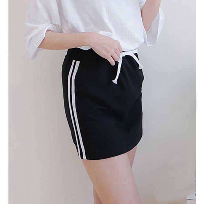 【Hao Da】全館399免運↘「M~XL。現貨」鬆緊腰 側線條 抽繩短裙 (P1274)