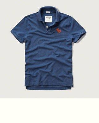 Maple麋鹿小舖 Abercrombie&Fitch * AF 藍色電繡大麋鹿POLO衫*( 現貨L號 )