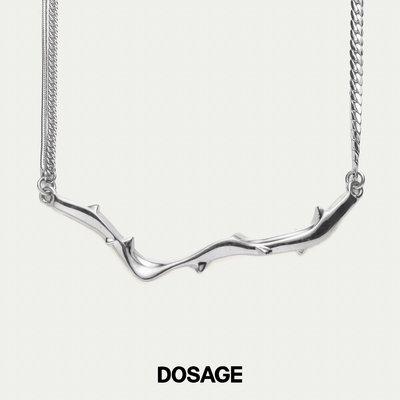 【DOSAGE】原創荊棘吊墜項鏈 s925銀鎖骨鏈小眾ins潮流飾品女禮物