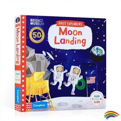 英文原版 First Explorers:Moon Landing 小小探索家:登月 紙板書  機關抽拉書 英語啟蒙玩具書 可搭Things That Go,M
