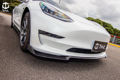 《※台灣之光※》TESLA特斯拉 Model 3 SR LR Performance 高品質抽真空輕量化卡夢碳纖維前下巴