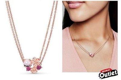 【全球購.COM】PANDORA 潘朵拉 玫瑰金新款粉桃花朵朵項鍊(60CM) 925純銀 美國正品代購