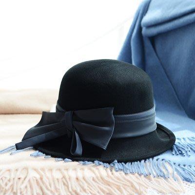 HAT 澳洲羊毛 毛呢帽 圓頂緞面蝴蝶結毛帽 5色