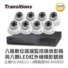 【皓翔行車監控館】全視線 8路監視監控錄影主機(HS-HA8111)+LED紅外線攝影機(MB-AHD83D) 台灣製造