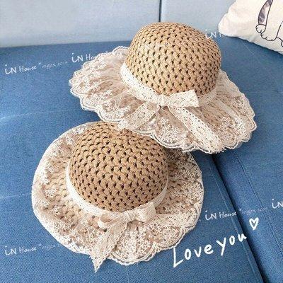 IN House*🇹🇼現貨🇰🇷韓版 親子 母女 兒童 復古 防曬 蕾絲 蝴蝶結 草帽 編織 遮陽帽 帽子