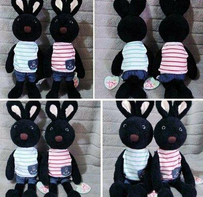 牛牛ㄉ媽*法國兔玩偶一對 海洋船錨褲裝黑色兔寶寶款 不拆開一起賣 42cm求婚送禮自用生日禮物