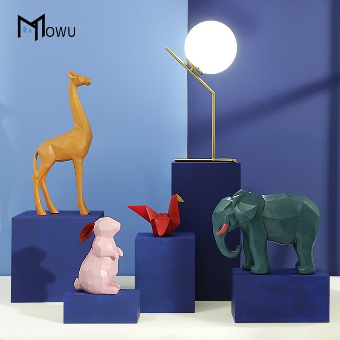裝飾擺件 裝飾品 摩屋 創意樹脂幾何動物桌面擺件北歐風客廳臥室酒柜擺設兒童軟裝