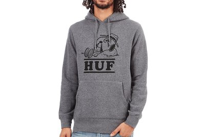 【A-KAY0】HUF X SNOOPY SPIKE NEEDLES HOOD 內裡刷毛 帽T 灰【PF64008GY】