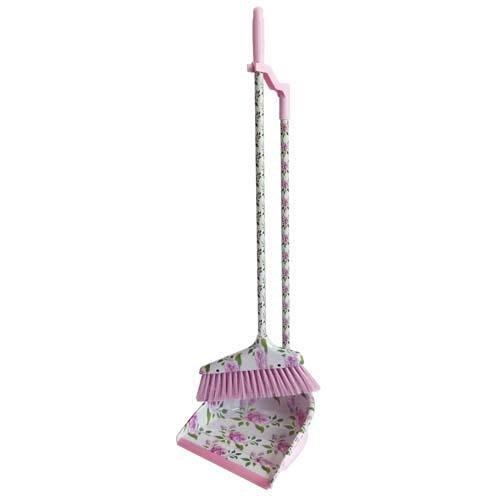 ~~凡爾賽生活精品~~全新日本進口粉紅色玫瑰花造型掃把畚箕組