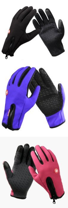 全新戶外運動觸屏手套冬男士加厚防寒保暖騎行內抓絨全指防風防水手套